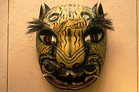 Jaguar mask on display in the Museo Rafael Coronel, which is housed in the ruins of the 16th century ex-Convento de San Francisco, city of Zacatecas, Mexico
