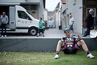 After finishing the opening stage, Marcel Kittel (DEU/Giant-Alpecin) drops to the ground as he went deep into his reserves to pull off a good prologue. He would finish 13th, 12 seconds behind the stage winner.<br /> <br /> Ster ZLM Tour 2015