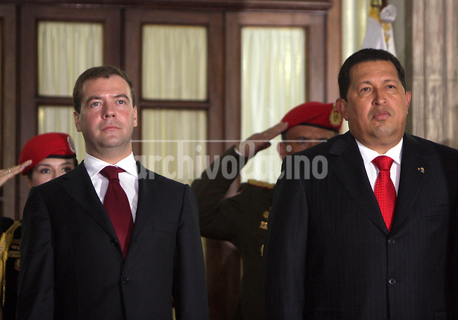 Russia President Dimitri Medvedev and his counterpart from Venezuela, Hugo Chavez, during a bilateral meeting at Miraflores Palace in Caracas.