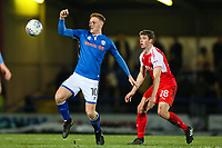 Callum Camps of Rochdale and Jack Sowerby of Fleetwood Town during the Sky Bet League 1 match between Rochdale and Fleetwood Town at Spotland Stadium, Rochdale, England on 20 March 2018. Photo by Thomas Gadd.