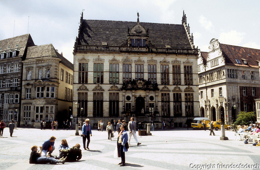 Bremen: The Marktplatz, The Schutting, 16th C. Hall of Guild of Merchants in Flemish style. Photo '87.