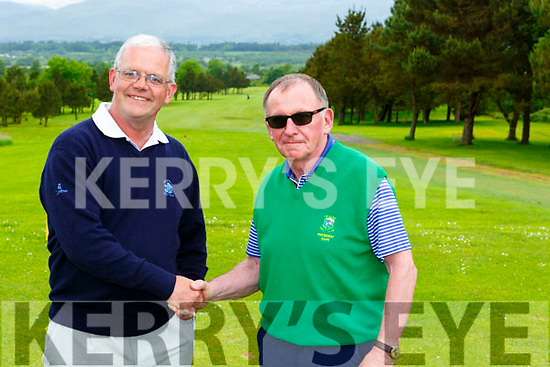 Team Captains Brendan Murray and Conor Stack shake hands at the start of the JB Carr final in Killorglin on Saturday