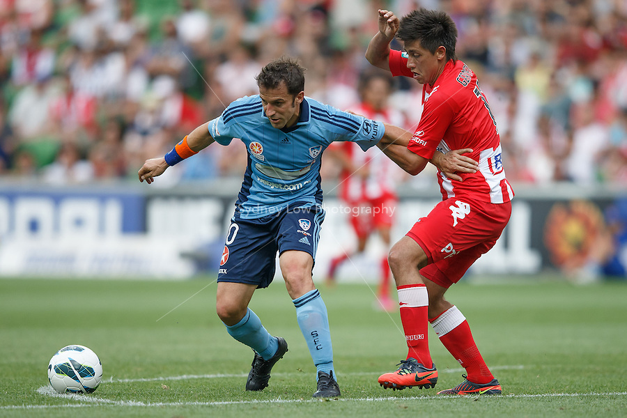MELBOURNE - 24 FEB: Alessandro DEL-PIERO of Sydney and Jonatan GERMANO of the Heart compete for the ball in the round 22 A-League match between Melbourne Heart and Sydney FC at AAMI Park on 22 February 2013. (Photo Sydney Low/syd-low.com/Melbourne Heart)
