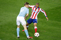 Atletico de Madrid´s Joao Miranda (R) and Malmo´s Rosenberg during Champions League soccer match between Atletico de Madrid and Malmo at Vicente Calderon stadium in Madrid, Spain. October 22, 2014. (ALTERPHOTOS/Victor Blanco)