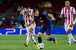 Lucas Digne (r) of FC Barcelona fights for the ball with Thanasis Androutsos of Olympiacos FC during the UEFA Champions League 2017-18 match between FC Barcelona and Olympiacos FC at Camp Nou on 18 October 2017 in Barcelona, Spain. Photo by Vicens Gimenez / Power Sport Images