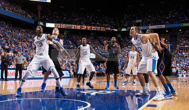 UK players box out during a freethrow during the second half of the UK Men's Basketball game against Morehead State at Arena in Lexington, Ky., on Wednesday, November. 21, 2012..