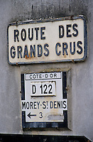 France/21/Côte d'Or/Env de Moret St Denis: Panneau de la route des grands crus