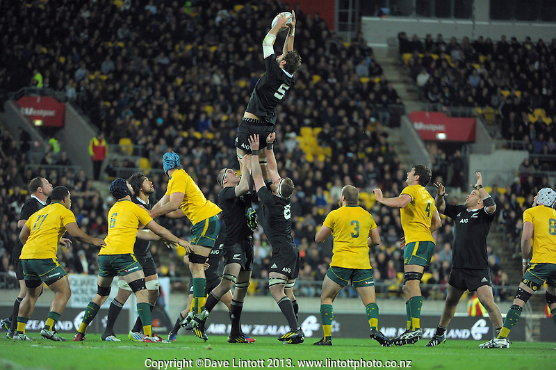 Sam Whitelock takes lineout ball during the Rugby Championship international rugby Bledisloe Cup test match between All Blacks and Australia at Westpac Stadium, Wellington, New Zealand on Saturday, 24 August 2013. Photo: Dave Lintott / lintottphoto.co.nz