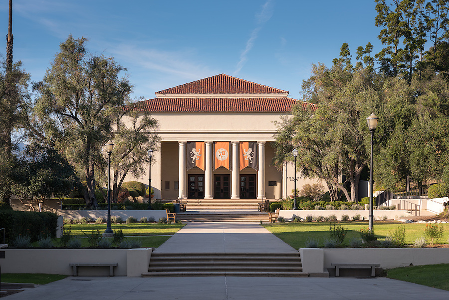 Thorne Hall, designed by Myron Hunt, on the campus of Occidental College, Nov. 22, 2016.<br /> (Photo by Marc Campos, Occidental College Photographer)
