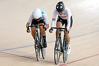 Michaela Drummond (L) of West Coast North Island and Rushlee Buchanan of Waikato BOP race to the finish line in the Elite Women Omnium 3 , Elimination race,  at the Age Group Track National Championships, Avantidrome, Home of Cycling, Cambridge, New Zealand, Sunday, March 19, 2017. Mandatory Credit: © Dianne Manson/CyclingNZ  **NO ARCHIVING**
