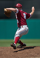 LOS ANGELES, CA - April 10, 2011: Dean McArdle of Stanford baseball pitches during Stanford's game against USC at Dedeaux Field in Los Angeles. Stanford lost 6-2.