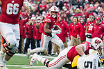 Wisconsin Badgers wide receiver Kendric Pryor (3) scores his first career touchdown during an NCAA College Big Ten Conference football game against the Iowa Hawkeyes Saturday, November 11, 2017, in Madison, Wis. The Badgers won 38-14. (Photo by David Stluka)