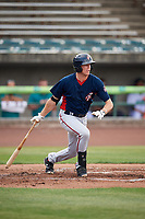 Potomac Nationals first baseman Ian Sagdal (1) hits a single during the first game of a doubleheader against the Lynchburg Hillcats on June 9, 2018 at Calvin Falwell Field in Lynchburg, Virginia.  Lynchburg defeated Potomac 5-3.  (Mike Janes/Four Seam Images)