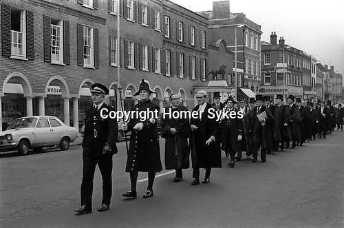 The Beadle leads local dignitaries to the Weighing the Mayor ceremony. At the start of his or term of office and again at the end is a custom unique to High Wycombe. It is thought the tradition started to ensure the mayor and other officials did not &quot;live off the fat of the land&quot; at the expense of the ratepayers. <br />