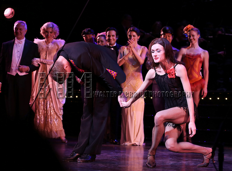 Shonn Wiley, Irina Dvorovenko with Ensemble during the closing night Curtain Call for ENCORES! production of 'On Your Toes' at City Center in New York City on 5/12/2013..