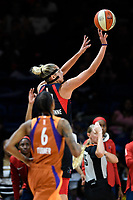 Washington, DC - July 30, 2019: Washington Mystics forward Elena Delle Donne (11) hits acrobatic shoot to beat the buzzer during first half action of game between the Phoenix Mercury and Washington Mystics at the Entertainment & Sports Arena in Washington, DC. (Photo by Phil Peters/Media Images International)