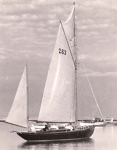 John Kearney aboard his own designed and built 38ft yawl Mavis