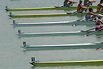 Rowing, rowers at the start, Numbered bows, FISA World Rowing Championships, Idroscalo Park, Milan, Lombardy, Italy, Europe, heat, women's double,