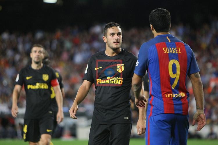 League Santander 2016/2017. Game: 5.<br /> FC Barcelona vs Atletico de Madrid: 1-1.<br /> Koke &amp; Luis Suarez.
