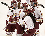 Kali Flanagan (BC - 10), Makenna Newkirk (BC - 19), Kristyn Capizzano (BC - 7), Caroline Ross (BC - 25) - The Boston College Eagles defeated the Northeastern University Huskies 2-1 to win the Beanpot on Monday, February 7, 2017, at Matthews Arena in Boston, Massachusetts.