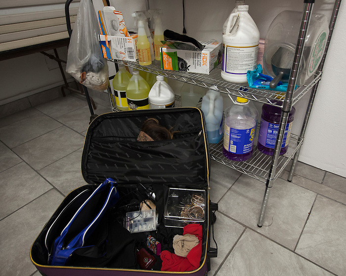 A suitcase of costumes and makeup sits on the floor of the dressing room at Franco's Norma Jean's Nightclub in Castroville, Calif. on December 18, 2015.