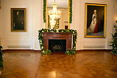 "The 2017 White House Christmas decorations, with the theme ""Time-Honored Traditions,"" which were personally selected by first lady Melania Trump, are previewed for the press in Washington, DC on Monday, November 27, 2017.  Pictured are decorations on a mantel in the East Room.<br /> Credit: Ron Sachs / CNP"