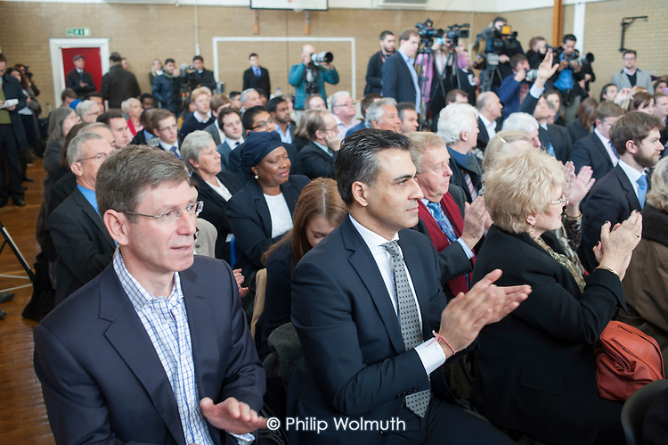 Local Conservative Association members at a Conservative Party general election press conference at Kingsmead School, Enfield, London.