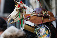 Mari Lwyd by the Gower Wassail & Mari Lwyd Festival in Swansea, Wales, UK. Saturday 04 January 2019