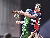 23rd March 2018, Ashton Gate, Bristol, England; RFU Rugby Championship, Bristol versus Yorkshire Carnegie; Dan Thomas of Bristol cannot control the lineout ball under pressure from Jack Whetton of Yorkshire Carnegie