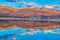 Reflections in Ken's Lake, near Moab, Utah and Las Sal Mountains,  Manti-Ls Sal National Forest