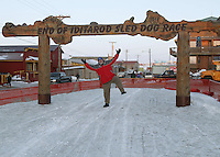 After checking in the last musher of the 2006 Iditarod race, his 989th, Nome's Leo Rasmussen clicks his heals celebrating the Red Lantern is no longer shining.