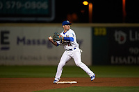 Rancho Cucamonga Quakes second baseman Omar Estevez (21) attempts to turn a double play during a California League game against the Lake Elsinore Storm at LoanMart Field on May 19, 2018 in Rancho Cucamonga, California. Lake Elsinore defeated Rancho Cucamonga 10-7. (Zachary Lucy/Four Seam Images)