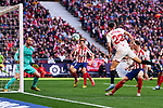 Jan Oblak of Atletico de Madrid and Sergio Reguilon of Sevilla during La Liga match between Atletico de Madrid and Sevilla FC at Wanda Metropolitano Stadium in Madrid, Spain. March 07, 2020. (ALTERPHOTOS/A. Perez Meca)