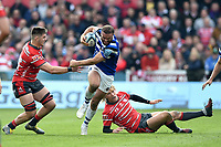 Jamie Roberts of Bath Rugby takes on the Gloucester Rugby defence. Gallagher Premiership match, between Gloucester Rugby and Bath Rugby on April 13, 2019 at Kingsholm Stadium in Gloucester, England. Photo by: Patrick Khachfe / Onside Images
