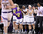 SIOUX FALLS, SD: MARCH 6: The Western Illinois bench celebrates after a score late in their game against Omaha during the Summit League Basketball Championship on March 6, 2017 at the Denny Sanford Premier Center in Sioux Falls, SD. (Photo by Dick Carlson/Inertia)