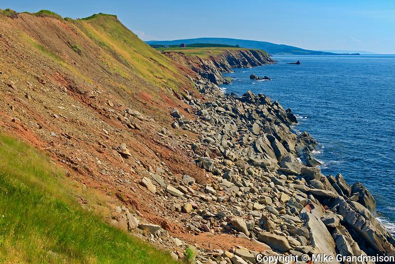 Appalachain Mountains chain and rocky shoreline along the Gulf of St. Lawrence. Cape Breton Island. Cabot Trail. <br />Cap Le Moine<br />Nova Scotia<br />Canada