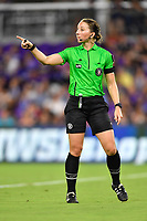 Orlando, FL - Saturday July 20, 2019:  Referee Danielle Chesky during a regular season National Women's Soccer League (NWSL) match between the Orlando Pride and the Sky Blue FC at Exploria Stadium.