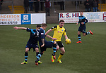 The visitors winning goalscorer Lewis Allan in action during the second-half at Station Park, Forfar during the SPFL League 2 fixture between Forfar Athletic and Edinburgh City (yellow). It was the club's sixth and final meeting of City's inaugural season since promotion from the Lowland League the previous season. City came from behind to win this match 2-1, watched by a crowd of 446.