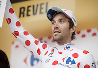 Thibaut Pinot (FRA/FDJ) in the polka dot jersey on the podium<br /> <br /> stage 10: Escaldes-Engordany (AND) - Revel (FR)<br /> 103rd Tour de France 2016