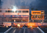 Feb 20, 2015; Chandler, AZ, USA; A pair of jet dragsters race during NHRA qualifying for the Carquest Nationals at Wild Horse Pass Motorsports Park. Mandatory Credit: Mark J. Rebilas-