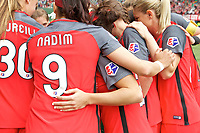 Portland, OR - Saturday April 29, 2017: Nadia Nadim, Thorns Huddle prior to a regular season National Women's Soccer League (NWSL) match between the Portland Thorns FC and the Chicago Red Stars at Providence Park.