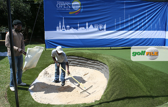 The building pf the play bunker reaches almost completion during the preview of the Tshwane Open 2015 at the Pretoria Country Club, Waterkloof, Pretoria, South Africa. Picture:  David Lloyd / www.golffile.ie. 10/03/2015