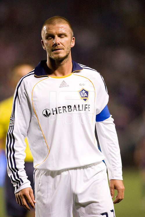 LA Galaxy midfielder and captain David Beckham (23) during a MLS match. The New York Red Bulls defeated the LA Galaxy 2-1 at Home Depot Center Stadium, in Carson, Calif., on Saturday, May 10, 2008.