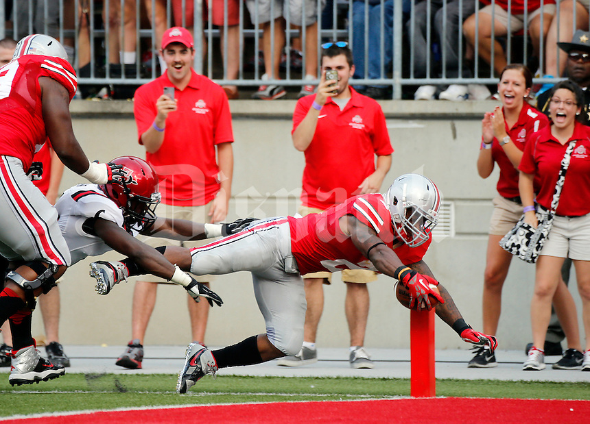 Ohio State Buckeyes running back Jordan Hall (2) dives into the end zone during the second quarter of the NCAA football game at Ohio Stadium in Columbus on Sept. 7, 2013. After an official replay, his foot was out of bounds at the one yard line. (Adam Cairns / The Columbus Dispatch)