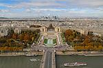 Jardin du Trocadero and Palais de Chaillot viewed from the Eiffel Tower, Paris, France,