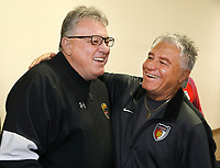 Oceanside, CA-Wednesday, June 19, 2019: US Soccer Coaches Ed Event at QLN conference center. Coaches John Elinger, left, and Hassan Nazari meet up before the event started.