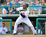 6 March 2012: Atlanta Braves outfielder Michael Bourn sets to bunt during a Spring Training game against the Washington Nationals at Champion Park in Disney's Wide World of Sports Complex, Orlando, Florida. The Nationals defeated the Braves 5-2 in Grapefruit League action. Mandatory Credit: Ed Wolfstein Photo