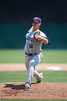 Mahoning Valley Scrappers starting pitcher Grant Hockin (12) delivers a warmup pitch during the first game of a doubleheader against the Auburn Doubledays on July 2, 2017 at Falcon Park in Auburn, New York.  Mahoning Valley defeated Auburn 3-0.  (Mike Janes/Four Seam Images)