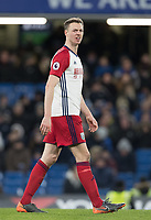 Jonny Evans of WBA during the Premier League match between Chelsea and West Bromwich Albion at Stamford Bridge, London, England on 12 February 2018. Photo by Andy Rowland.