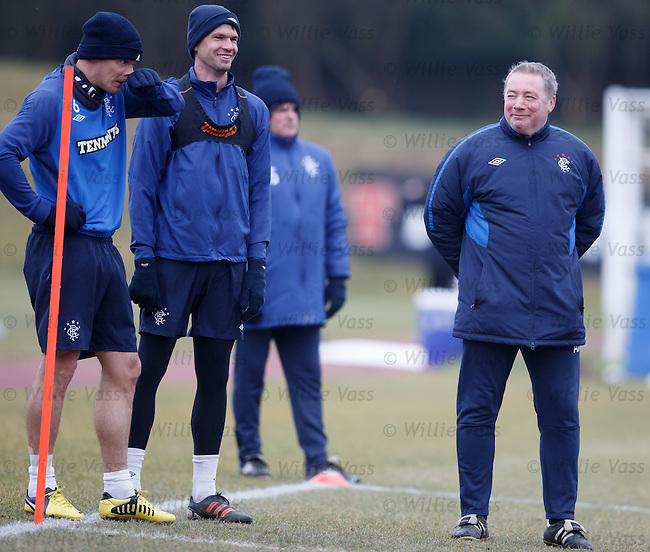 Ally McCoist keeping a close eye on Emilson Cribari and Lee McCulloch
